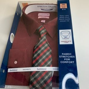 Long sleeve collared shirt with tie
